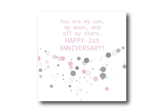 Digital 1st Wedding Anniversary card wishes, instant download,Pantone Colors