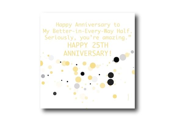 Digital 25th Wedding Anniversary Card wishes, Pantone Colors