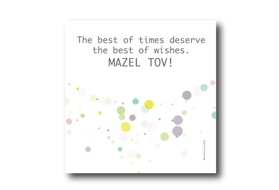 Digital Mazel Tov card wishes, instant download, printable at home, ready to post, Pantone Colors, Pantone Colors