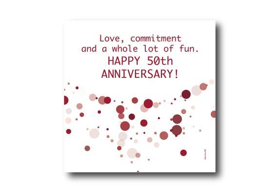Digital 50th Wedding Anniversary Card wishes, Pantone Colors