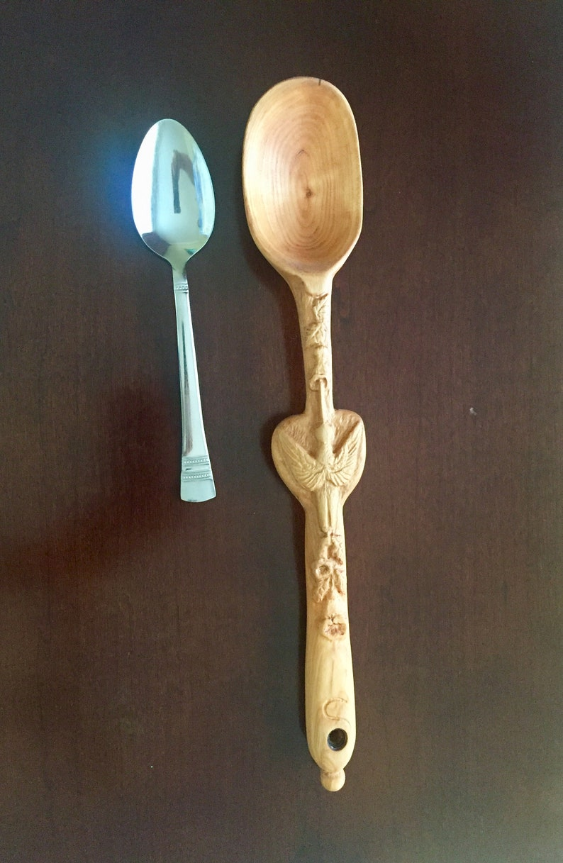 Decorative Wooden Spoon Large Cherry Spoon Wooden Sculptural Spoon Hummingbird Large Spoon