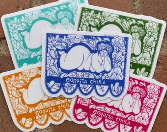 Gordita Chula Sticker // Body Positivity // Mexican Fiesta Flag // Plus Size Art