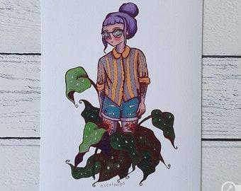 Tattooed Plant Lady A5 Art Print