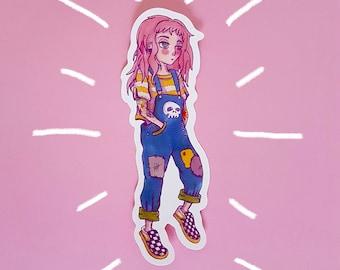 Tattooed Hipster Skater Girl Vinyl Sticker
