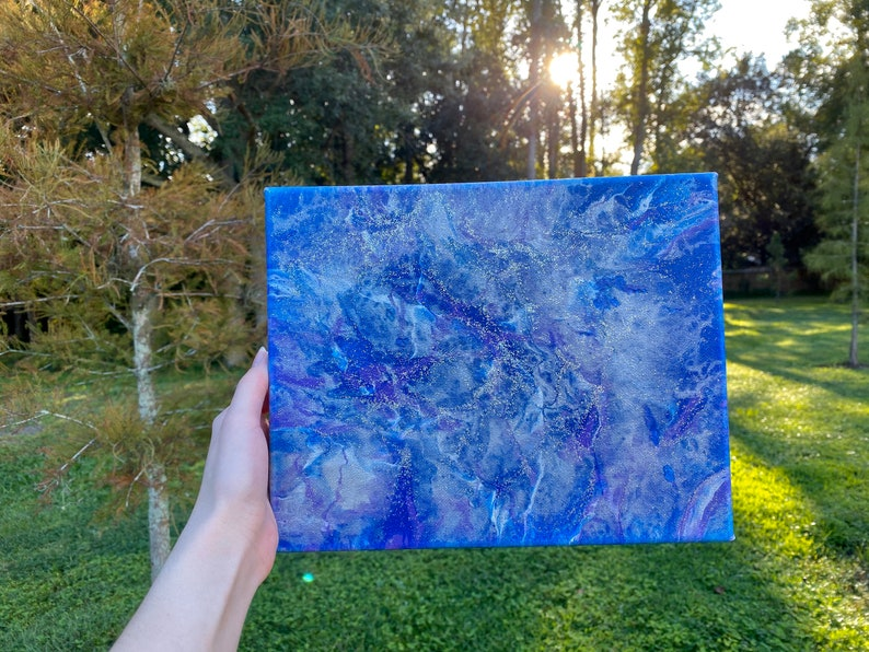 BUY 2 GET 1 FREE sale  Acrylic pour painting 8x10 blue and purple with silver glitter ArtsyEmsDesigns 39