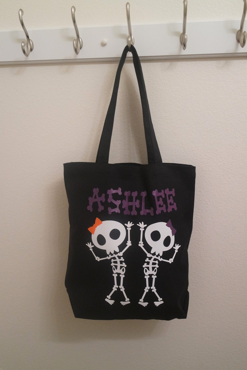 halloween bucket Canvas bag Witch kids trick or treat bag Halloween trick or treat bag Personalized Candy bag