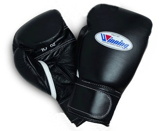 347a0b90 Winning Pro Boxing Gloves 100% Cowhide Leather Black 8 oz to 18 oz