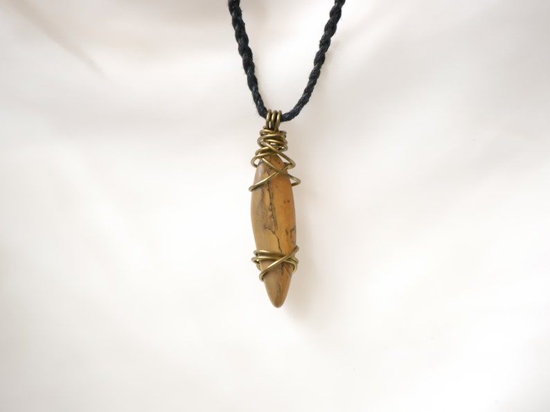Macrame Wire Wrapped Necklace with Earthy Jasper Gemstone Crystal Pendant Necklace Brass Wire