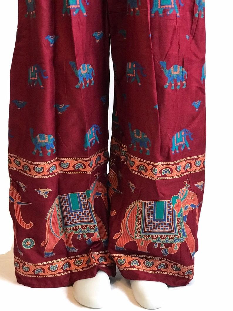 Vintage Women/'s Palazzo PantsBoho PantsElephant PantsGypsy PantsBurgundy Hippie Pants