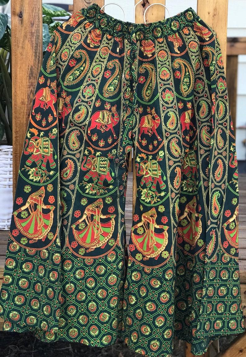 Wide Leg Boho Green Palazzo Pants