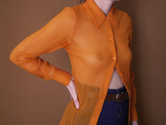 ORANGE PLEATED SHIRT