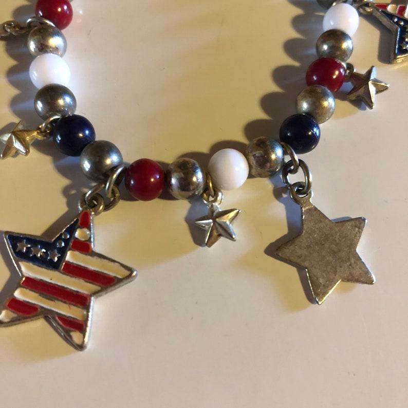 Stars America Patriotic 4th of July Stretchy Charm Bracelet FREE SHIPPING