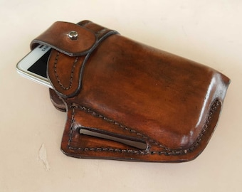 Leather Belt Pouch Lined Phone Pouch EDC Cell Phone Holster Gift for Boyfriend Heavy Duty Phone Pouch