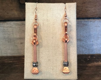 bfd650ec9 Double Bent Copper Horseshoe Nail Beaded Earring