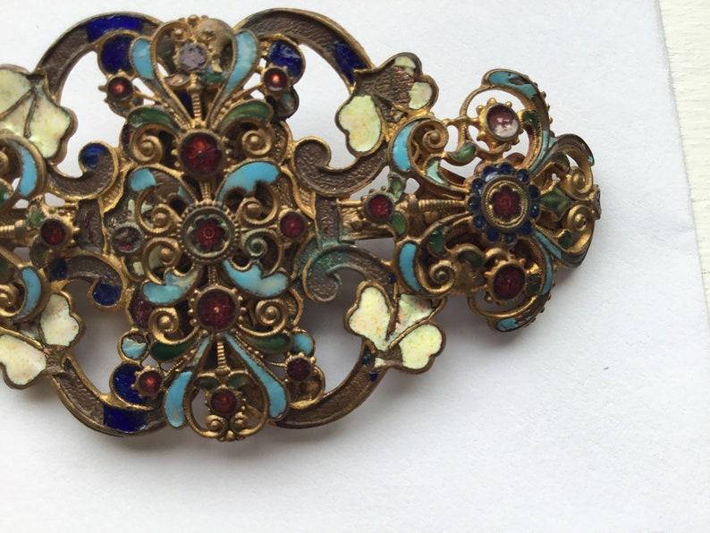 Antique art nouveau enamel buckle pendant