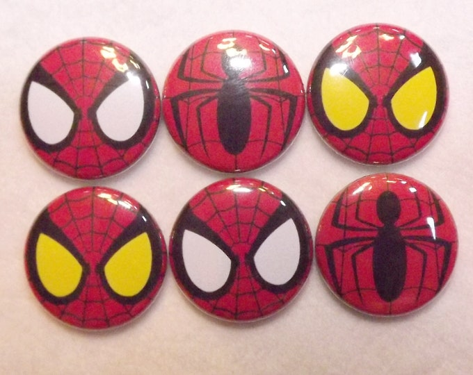 Spiderman Themed 1 inch Buttons Set of 10 Pinback Flatback