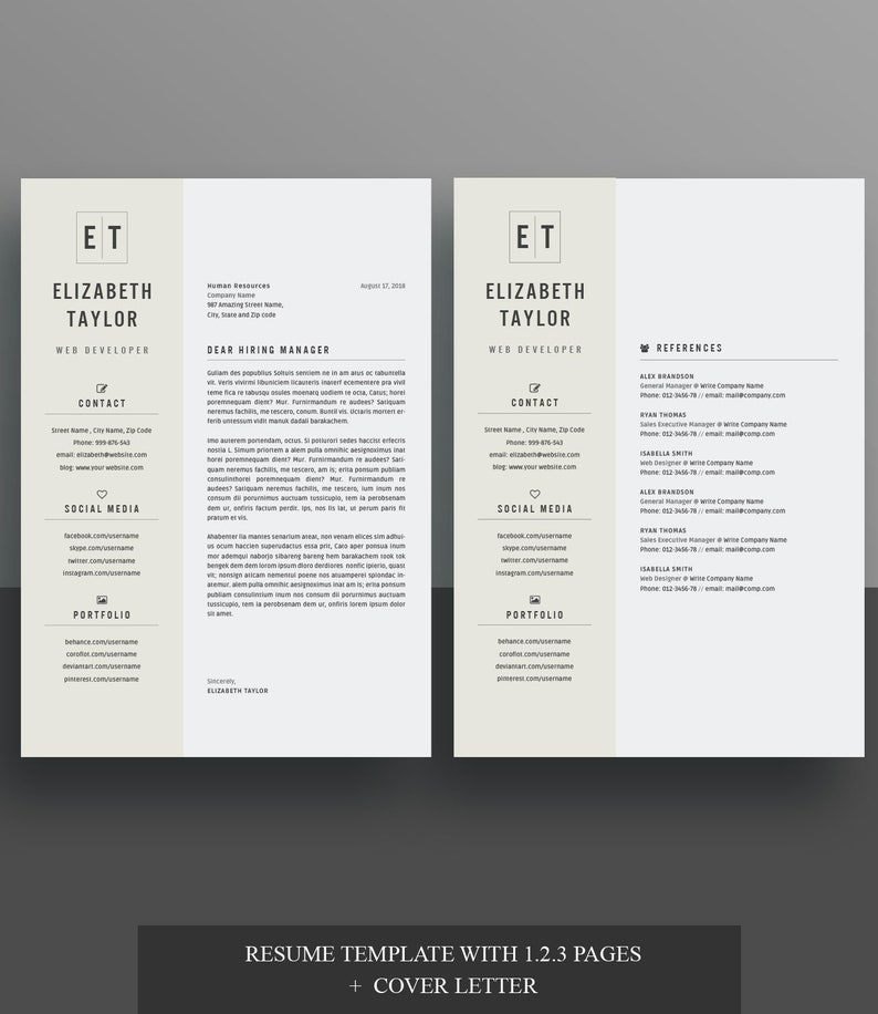 4 page Resume / CV Template + Cover Letter for MS Word | Instant Digital  Download, RSB_2