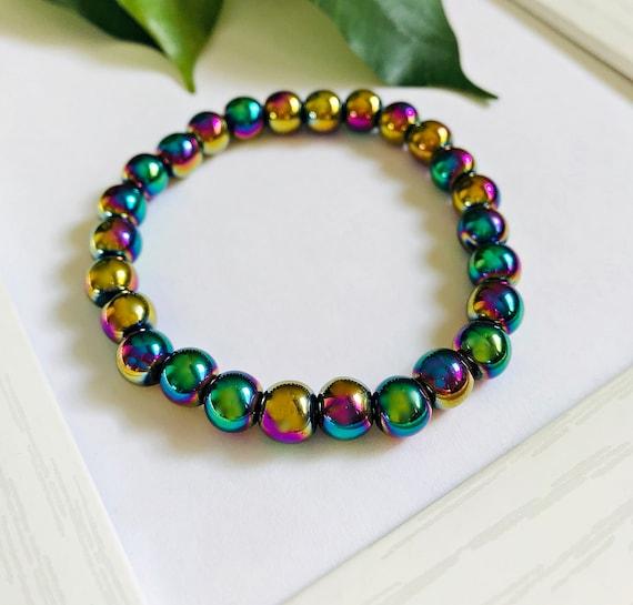 mineral bracelet colorful bracelet fine thickness energetic bracelet Rainbow Hematite bracelet delicate bracelet