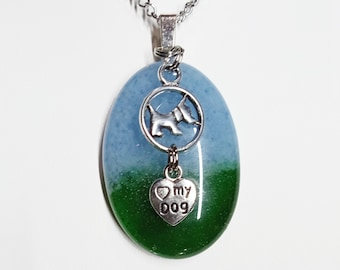 Fused Sky Blue and Green Glass with Antique Silver Tone Dog and Heart