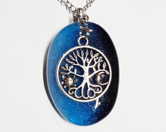 Fused Sky Blue, Teal and Midnight Blue Glass with Antique Silver Tone Tree of Life with Sun/Moon