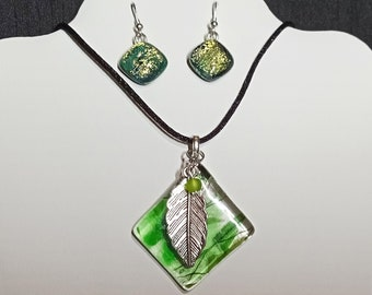 Fused Greens on Clear Glass Pendant with Silver Tone Leaf; Dichroic Green Earrings Included