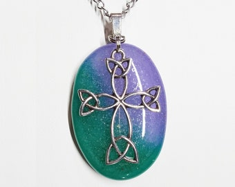 Fused Aqua Green and Lavender Glass with an Antique Silver Tone Celtic Cross