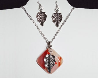 Fused Multicolored Glass in Fall Colors with Silver Tone Leaf and Matching Earrings