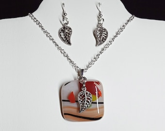 Fused Multicolored Glass in Warm Fall Colors with Silver Tone Leaf and Matching Earrings