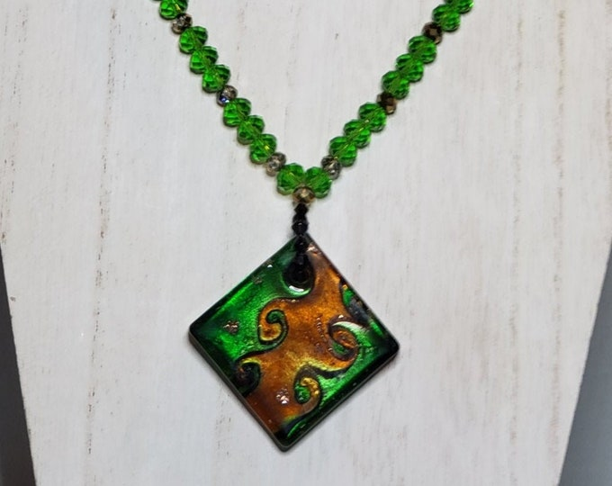 NECKLACE: Square glass pendant, green, black, gold