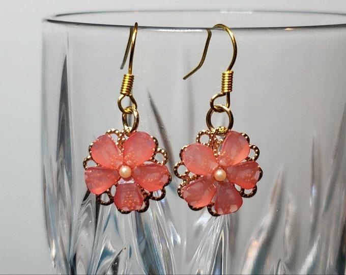 Dainty gold plated pink shell flower earring