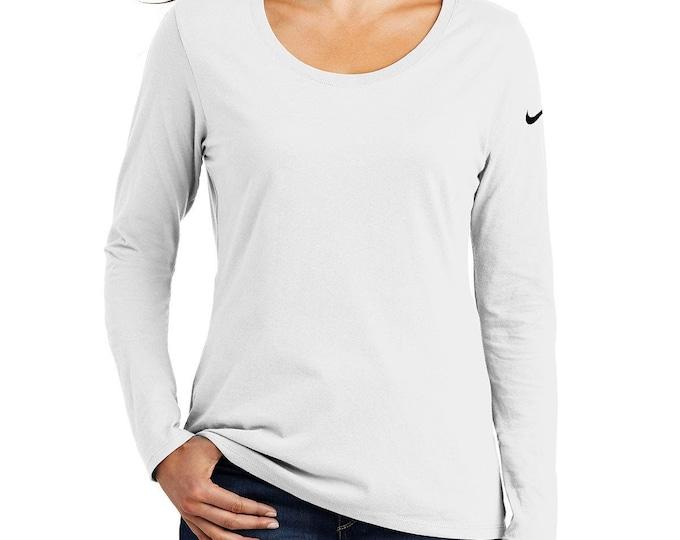 Nike Ladies Core Cotton Long Sleeve Scoop Neck Tee