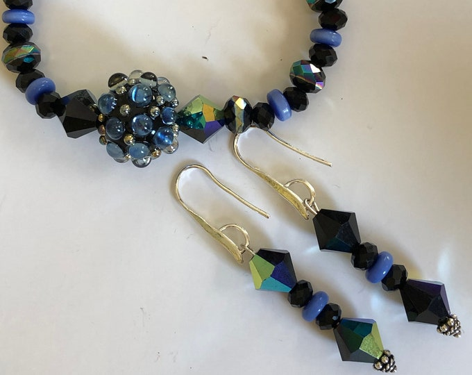 Black Swarovski Crystal Bracelet and Earrings Set