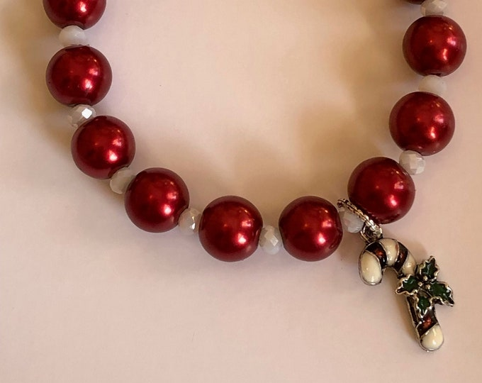 Stretch Red Glass Pearl Bracelet