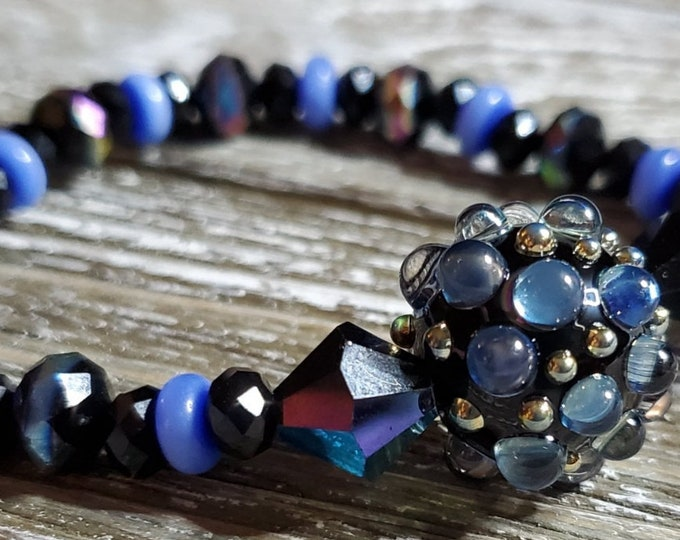 Stretch Black Swarovski crystal bracelet