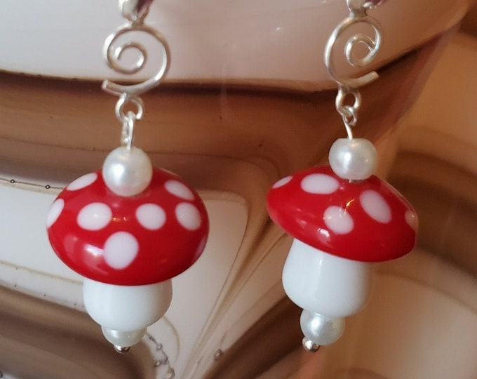 Earrings with white pearls with red and white Lampwork mushroom beads