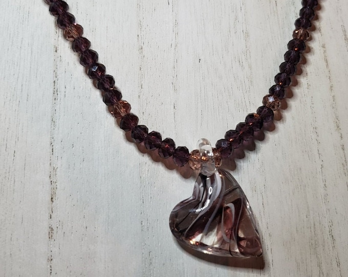 NECKLACE: PLum Swarovski rondelles and Pink Swarovski roundelles with Blown Glass Heart