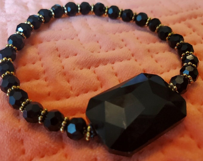 Matching black Swarovski crystal stretch bracelet