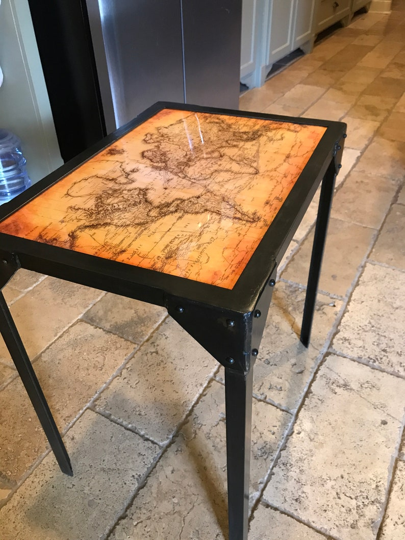 Enjoyable Industrial End Table With Antique Map Top And Steel Rivets Home Remodeling Inspirations Propsscottssportslandcom