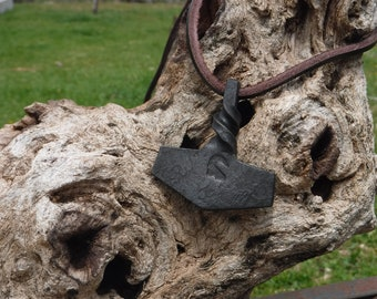 Hand forged Thor's hammer necklace