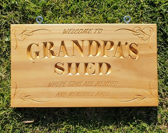 Wooden Sign Grandpa's Shed Natural Pine from New Zealand