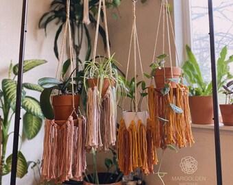 DOLLY - Gold or Silver with Fringe Marigolden Macrame Plant Hanger - with Pink, Ombre, Orange, Mustard, Nude or Black Fringe