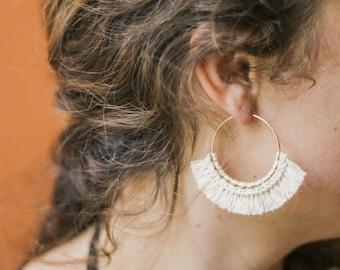 LANA: MEDIUM - Marigolden Macrame Earrings - Boho Statement Gold Hoops w. Cotton Fringe