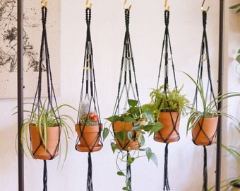 WITCHY MITCHIE - Marigolden Macrame Plant Hanger - Petite / Small Black Macrame Square Knot Plant Hanger with Cosmic Celestial Moon Charm