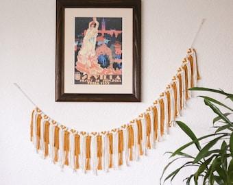SISTER GOLDEN HAIR - Marigolden Macrame Banner: White & Mustard Boho Decor Fringe Macrame Garland