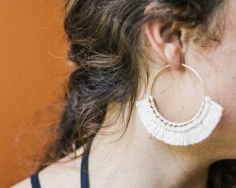 LANA: LARGE - Marigolden Macrame Earrings - Boho Statement Gold Hoops w. Cotton Fringe