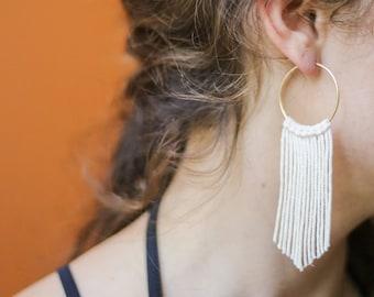 EMMYLOU: LARGE - Marigolden Macrame Earrings - Boho Statement Gold Hoops w. straight cotton cords