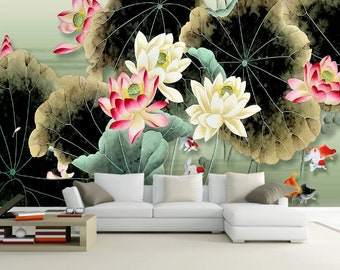 3D Chinese style Artistic conception Lotus Wallpaper Wall Mural,Vintage art,Peel and Stick Removable Self Adhesive Wallpaper