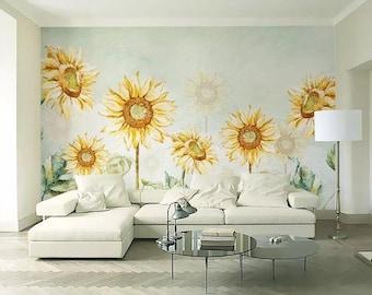3D Sunflower E234 Removable Wallpaper Self Adhesive Wallpaper Extra Large Peel /& Stick Wallpaper Wallpaper Mural AJ WALLPAPERS