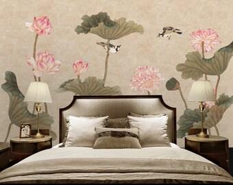 3D Lotus E447 Removable Wallpaper Self Adhesive Wallpaper Extra Large Peel /& Stick Wallpaper Wallpaper Mural AJ WALLPAPERS
