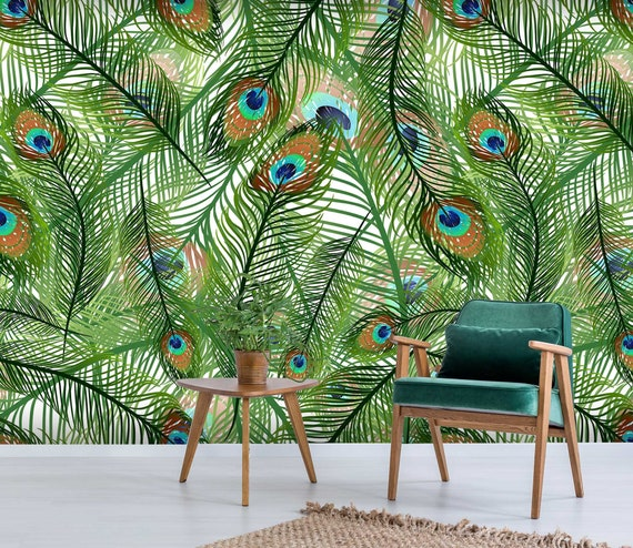 3d Pretty Peacock Feather 105 Removable Wallpaper Self Etsy